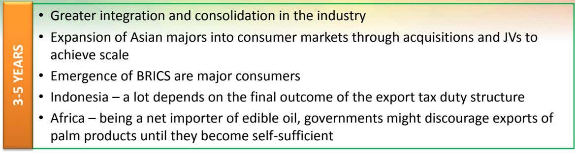 • Greater integration and consolidation in the industry • Expansion of Asian majors into consumer