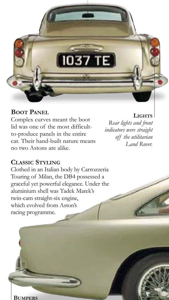 BOOT PANEL LIGHTS Complex curves meant the boot lid was one of the most difficult-