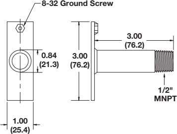 "8-32 Ground Screw 3.00 (76.2) 0.84 3.00 (21.3) (76.2) 1/2"" MNPT 1.00 (25.4)"