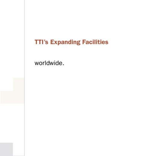 TTI's Expanding Facilities worldwide.