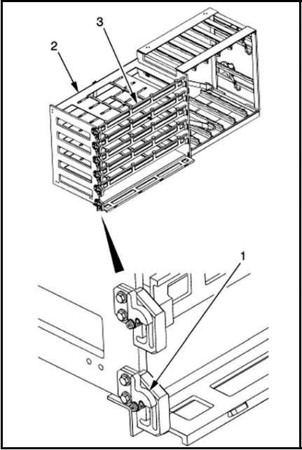 OPERATIONAL PROCEDURES Figure 2-1. Left side 120-mm ammunition horizontal rack (stowage). 1. Push and hold latch