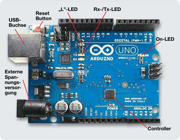 """L""-LED Rx-/Tx-LED Reset USB- Button Buchse On-LED Externe Span- nungs- versor- gung Controller"