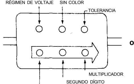 RÉGIMEN DE VOLTAJE SIN COLOR TOLERANCIA o MULTIPLICADOR SEGUNDO DÍGITO