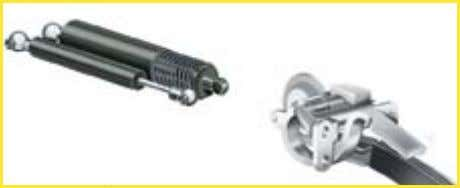 by a locking mechanism when they come into contact. Two pairs of gas shock absorbers Hinges
