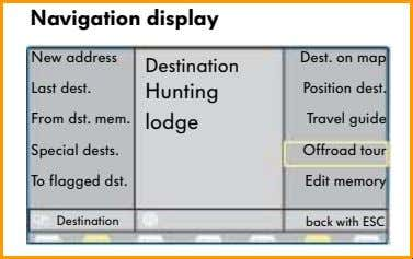 software and uses the system components used previously. Navigation display 4 New address Last dest. From