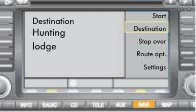 Start Destination Destination Hunting Stop over lodge Route opt. Settings