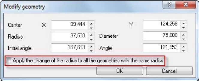 the same radius' in the event arcs or circles are chosen. If the option is selection,