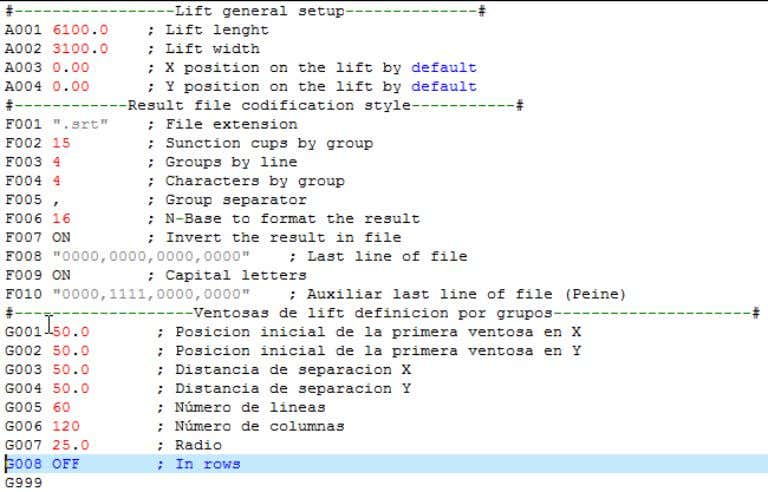 you can see an example of the file format to be configured. The application is only