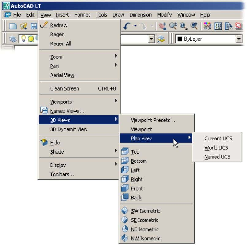 select Plan View . Notice that a second submenu appears. Menus can have submenus can have