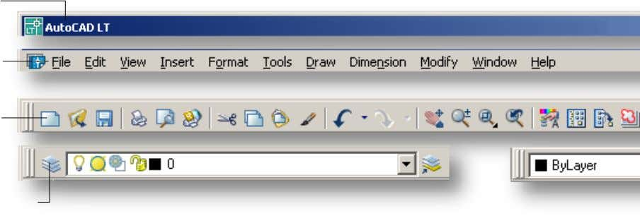 24 AutoCAD LT 2006: The Definitive Guide Title Bar Menu Bar Standard Toolbar Layers Toolbar Title