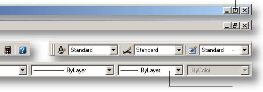 the AutoCAD LT Interface 25 AutoCAD LT Window Controls Drawing Window Controls Styles Toolbar Object Properties