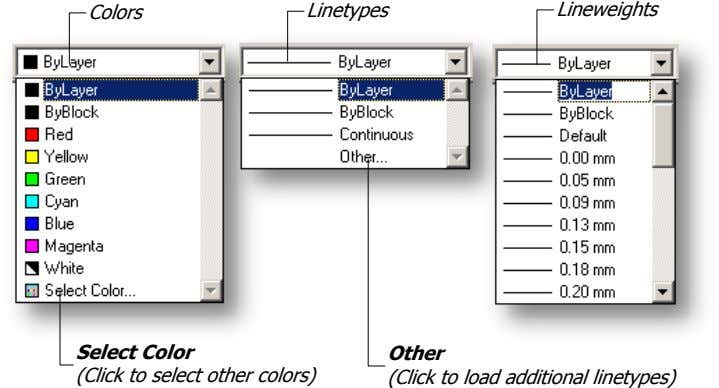 Colors Linetypes Lineweights Select Color (Click to select other colors) Other (Click to load additional