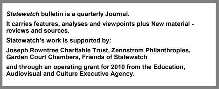 and Member States New material - reviews and sources Statewatch website http://www.statewatch.org