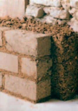 building with earth | wall linings Existing wall, light clay mortar, earth bricks Wall linings The