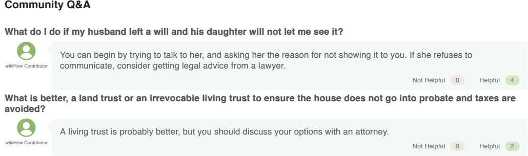 Community Q&A What do I do if my husband left a will and his daughter