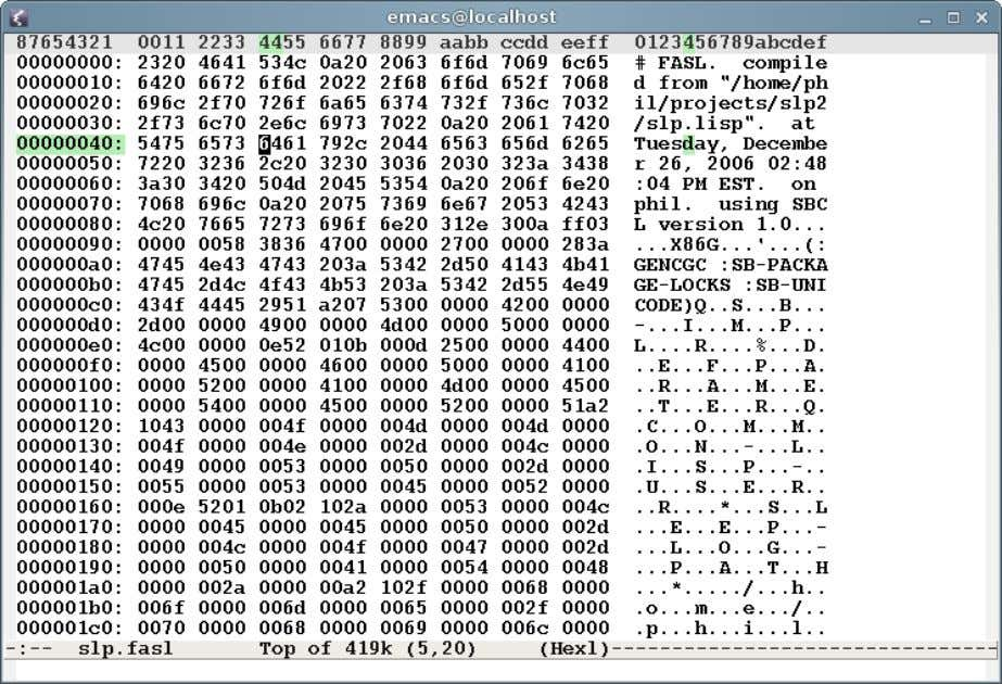 The many faces of Emacs Emacs is a hex editor M­x hexl­find­file