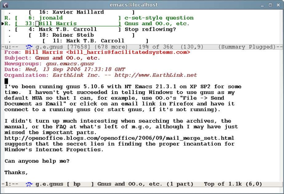 The many faces of Emacs Emacs is a mail/news client M­x gnus