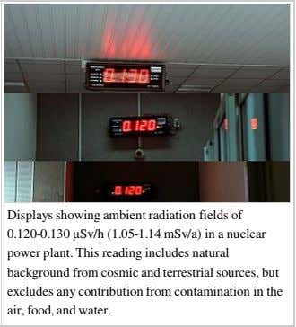 Displays showing ambient radiation fields of 0.120-0.130 µSv/h (1.05-1.14 mSv/a) in a nuclear power plant.