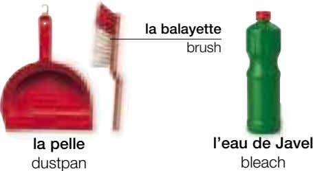 la balayette brush la pelle dustpan l'eau de Javel bleach