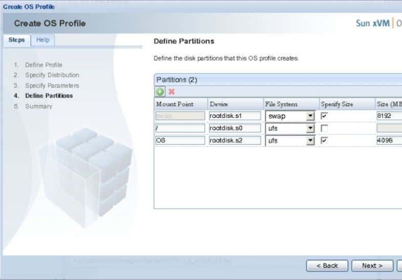 Click Next. The Define Partitions panel is displayed. 11. In the Define Partitions panel, define the
