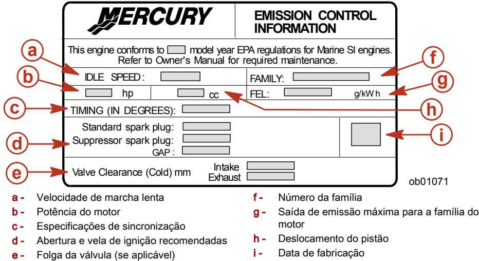 EMISSION CONTROL INFORMATION a This engine conforms to model year EPA regulations for Marine SI