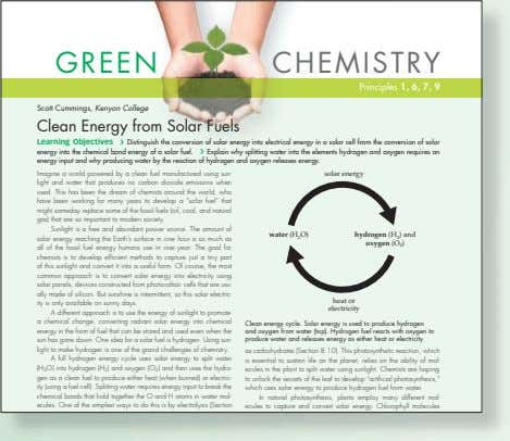 GREEN CHEMISTRY Principles 1, 6, 7, 9 Scott Cummings, Kenyon College Clean Energy from Solar