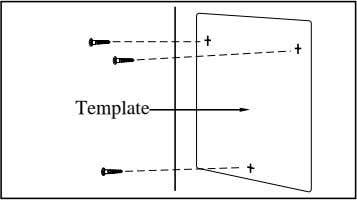 template (included) on the wall to mark the screw positions. Template KX-TD816 2. Install the screws