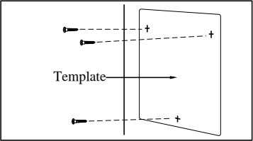 template (included) on the wall to mark the screw positions. Template KX-TD816 Template KX-TD1232 2. Drill