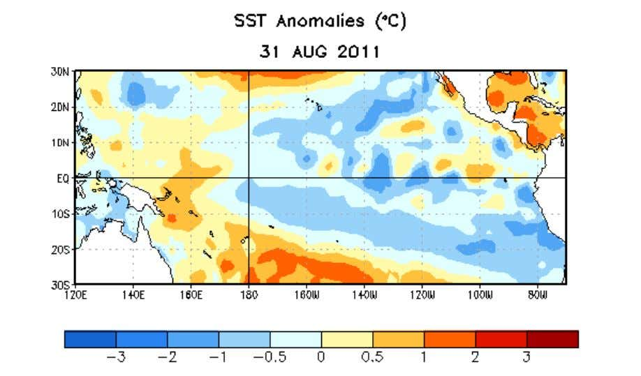 Figure 1. Average sea surface temperature (SST) anomalies (°C) for the week centered on 31