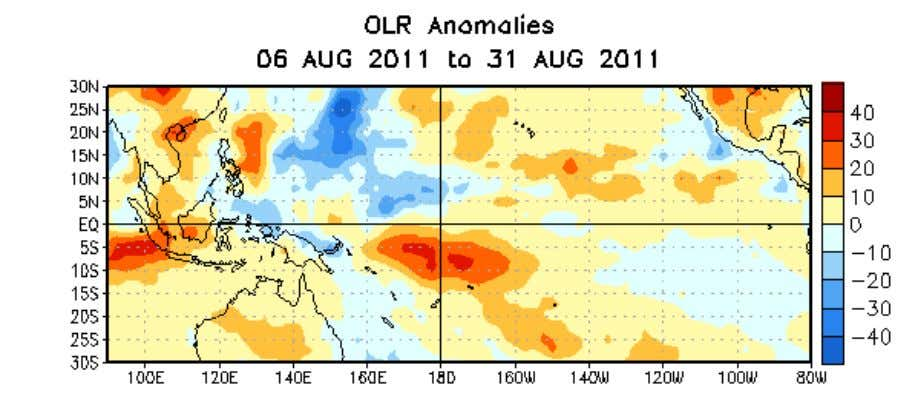 Figure 5. Average outgoing longwave radiation (OLR) anomalies (W/m 2 ) for the four-week period