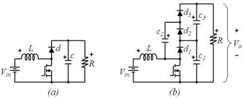 Engineering Letters, 19:1, EL_19_1_10 Fig. 3. (a) Traditional boost converter, (b) 2x multilevel boost converter .