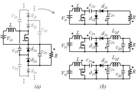 Engineering Letters, 19:1, EL_19_1_10 Fig. 11. (a) Generalized topology (b) from top to bottom: converters proposed