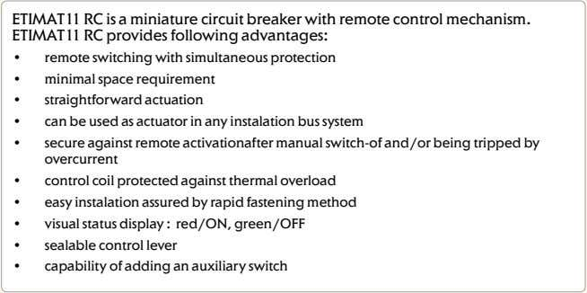 for ETIMAT11 Fig.1 Fig.2 ETIMAT11 RC - Remote control Technical Data: • the remote control mechanism,