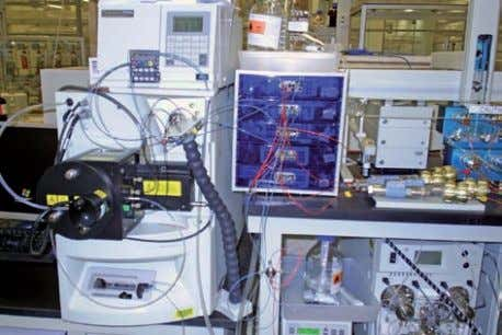 on UV spectroscopy, NMR and also gas chromatograph HPLC apparatus (on the right) linked to a