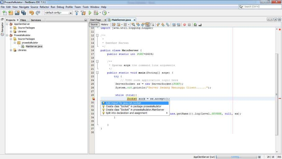 7. Create Socket For Client by server socket and impor java.net.socket 8. Create pipe communication to