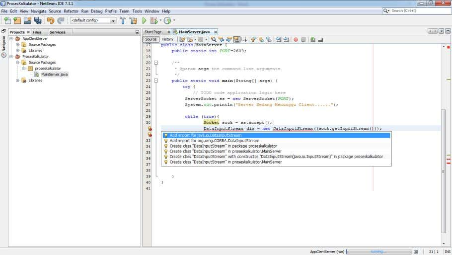 - Next Import java.io.DataInputStream and mport java.io.DataOutputStream 9. Add Coding In Server to Send Massage to