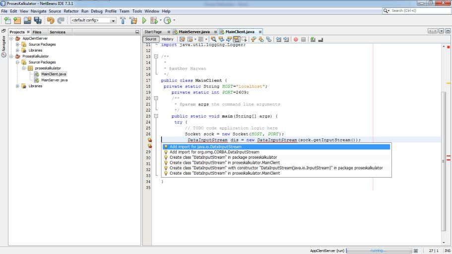 13. Soround try-catch, exception Socket 14. Create pipe communication to Input and Output from client -