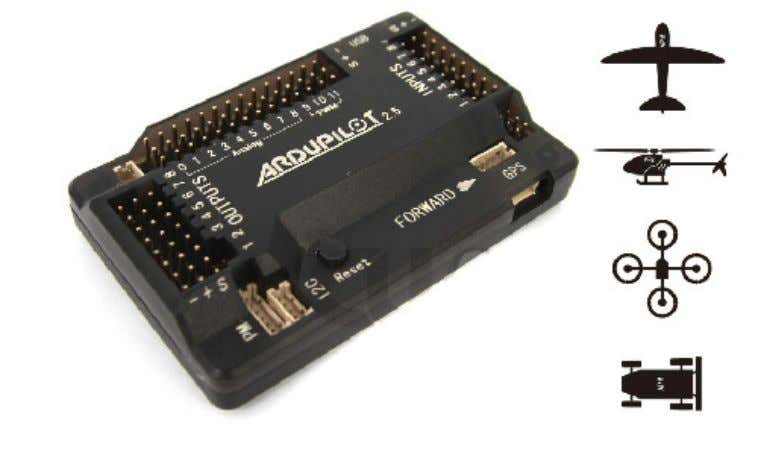 Open source autopilot. Figura 21 - Placa controladora APM Fonte: Chengdu Tianyu Hi-Tech LTD.,CO. (2013) A