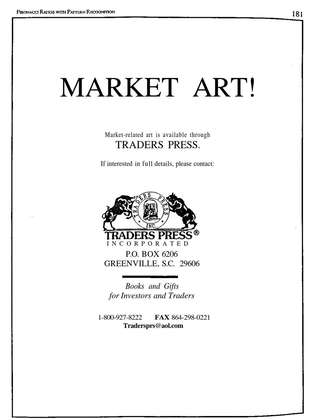 MARKET ART! Market-related art is available through TRADERS PRESS. If interested in full details, please