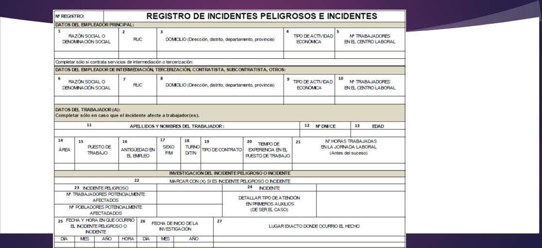 REGISTRO DE INCIDENTES PELIGROSOS