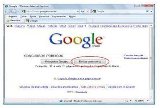 tela do Internet Explorer exibindo o site de busca Google. Ao se digitar no campo de
