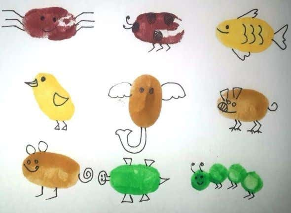 2. Make different designs / objects (like birds, butterfly, tree, rat, spider, flower, tree etc. )