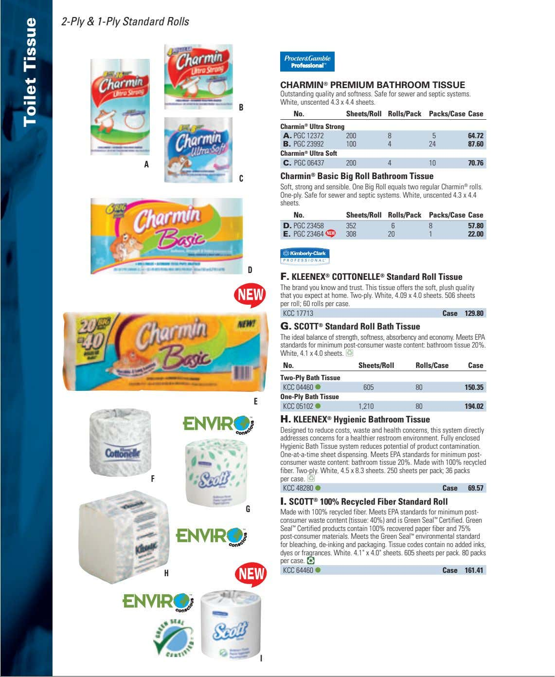 2-Ply & 1-Ply Standard Rolls CHARMIN ® PREMIUM BATHROOM TISSUE Outstanding quality and softness. Safe