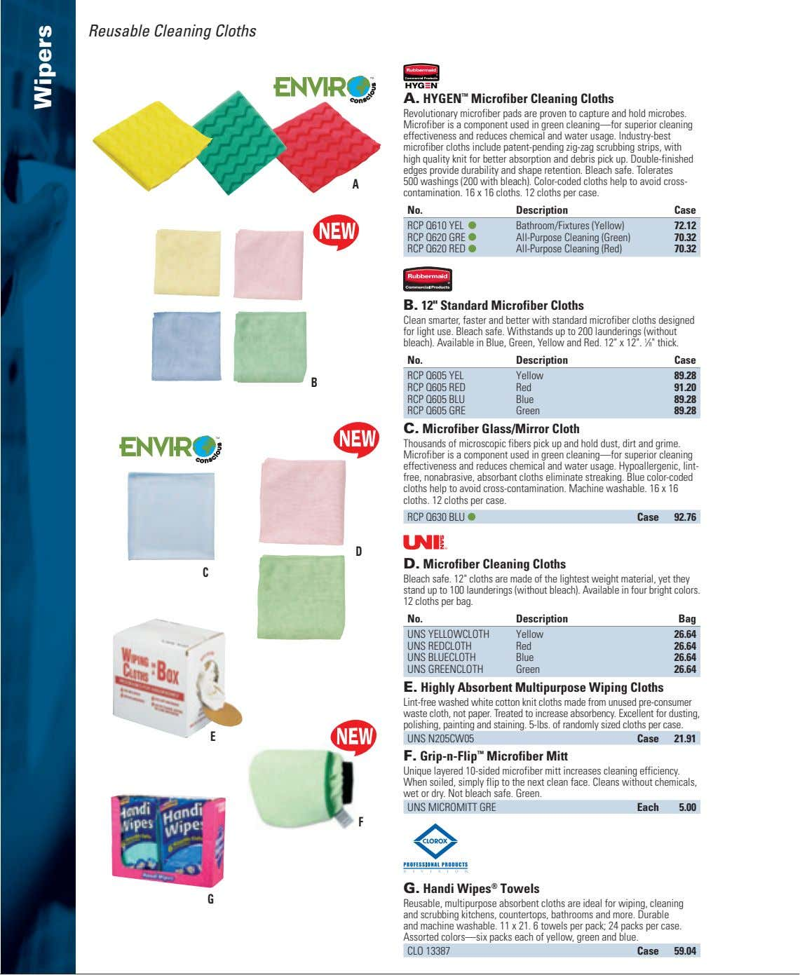 Reusable Cleaning Cloths A. HYGEN ™ Microfiber Cleaning Cloths Revolutionary microfiber pads are proven to
