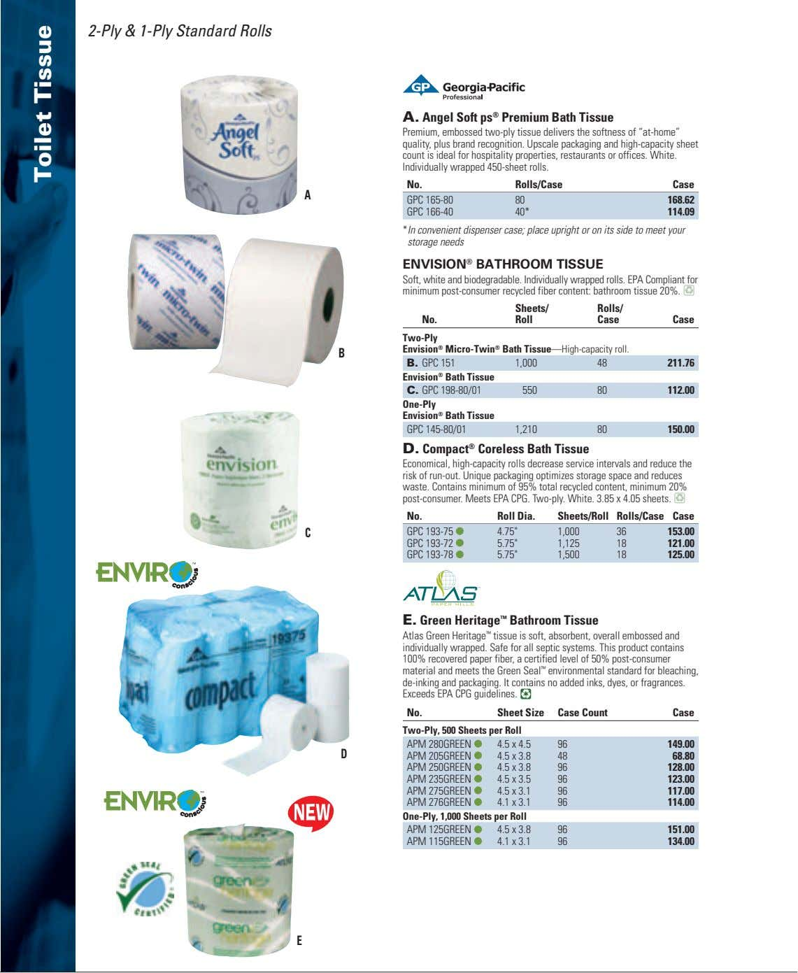2-Ply & 1-Ply Standard Rolls A. Angel Soft ps ® Premium Bath Tissue Premium, embossed