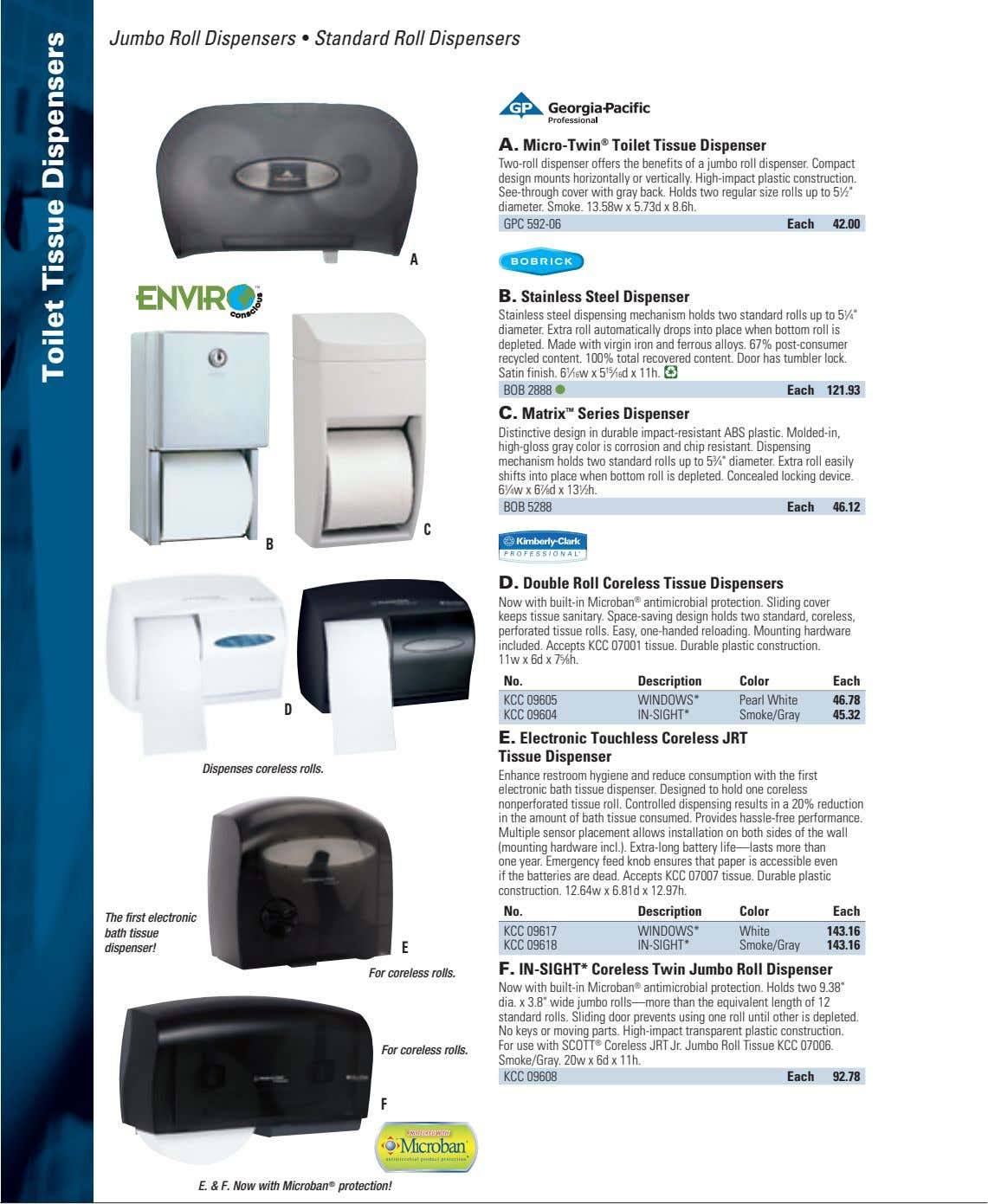 Jumbo Roll Dispensers • Standard Roll Dispensers A. Micro-Twin ® Toilet Tissue Dispenser Two-roll dispenser
