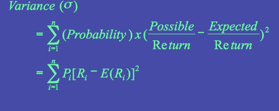 Risk of Expected Return  Measuring the Risk of Expected Return  The Variance Measure 1-51
