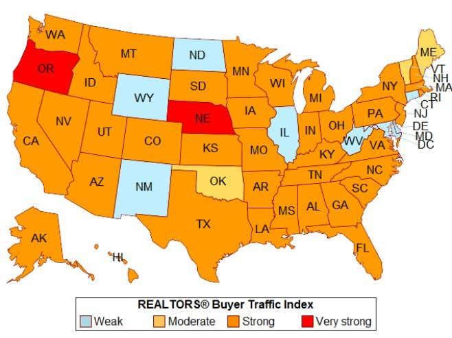 "Texas continues to experience ""strong"" buyer demand. 1 2 The index for each state is based"
