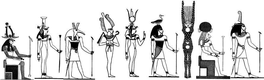 MAAT Geb Nut Horus Set Osiris Isis Nephthys Anubis Top: Ra. From left to right, starting