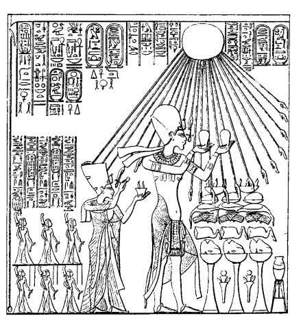 with his family adoring the sundisk, symbol of the Aton. Akhnaton, Nefertiti and Daughters For more
